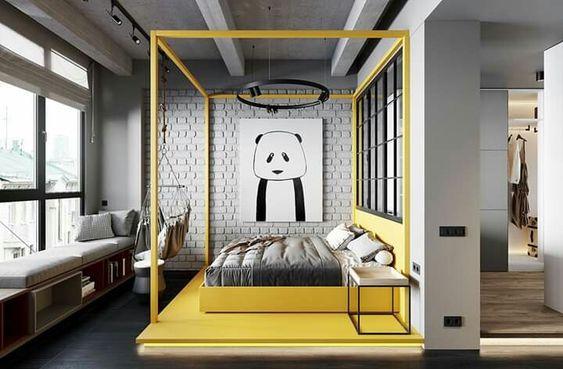 жовта спальня в стилі лофт