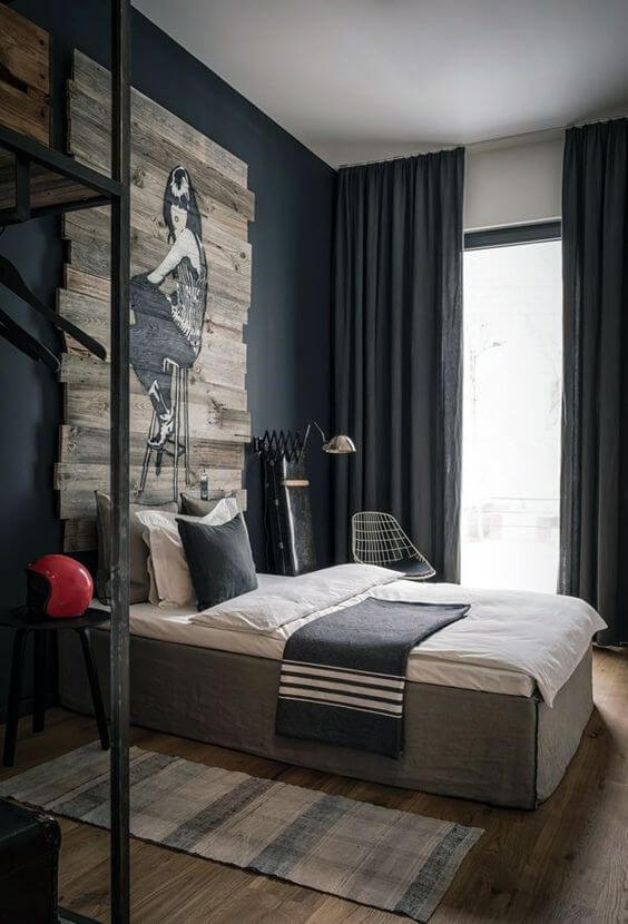 спальня лофт синя