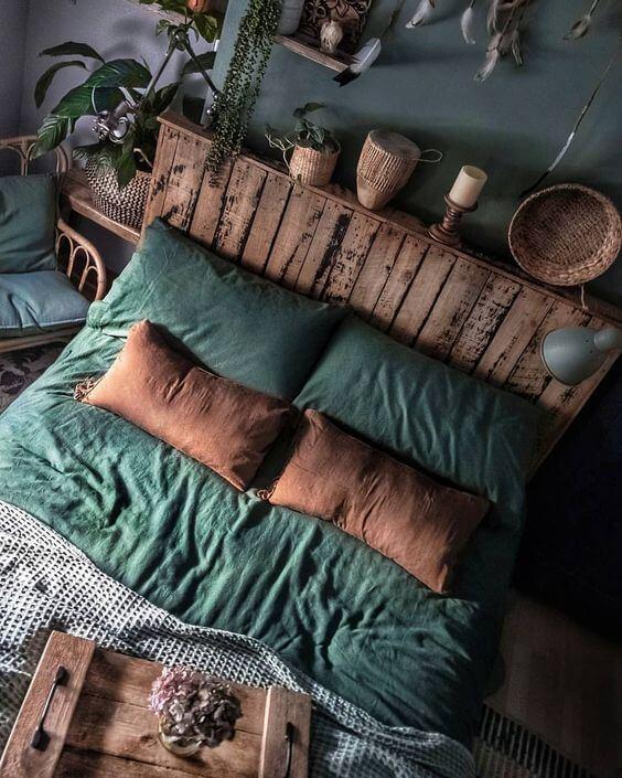 спальня в стилі лофт зелена